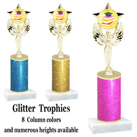 School theme  Glitter Column trophy with choice of glitter color, trophy height and base.  (MF1080) 8