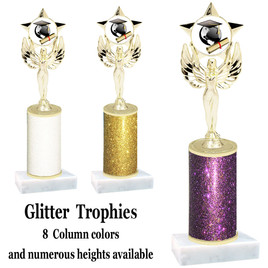School theme  Glitter Column trophy with choice of glitter color, trophy height and base.  (MF1080) 9