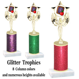 School theme  Glitter Column trophy with choice of glitter color, trophy height and base.  (MF1080) 10