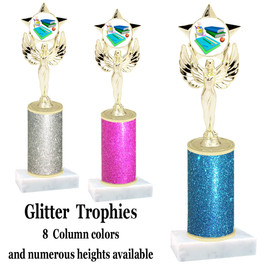 School theme  Glitter Column trophy with choice of glitter color, trophy height and base.  (MF1080) 11