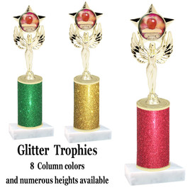 School theme  Glitter Column trophy with choice of glitter color, trophy height and base.  (MF1080) 12