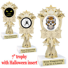 "Halloween theme trophy.  7"" tall with choice of art work"