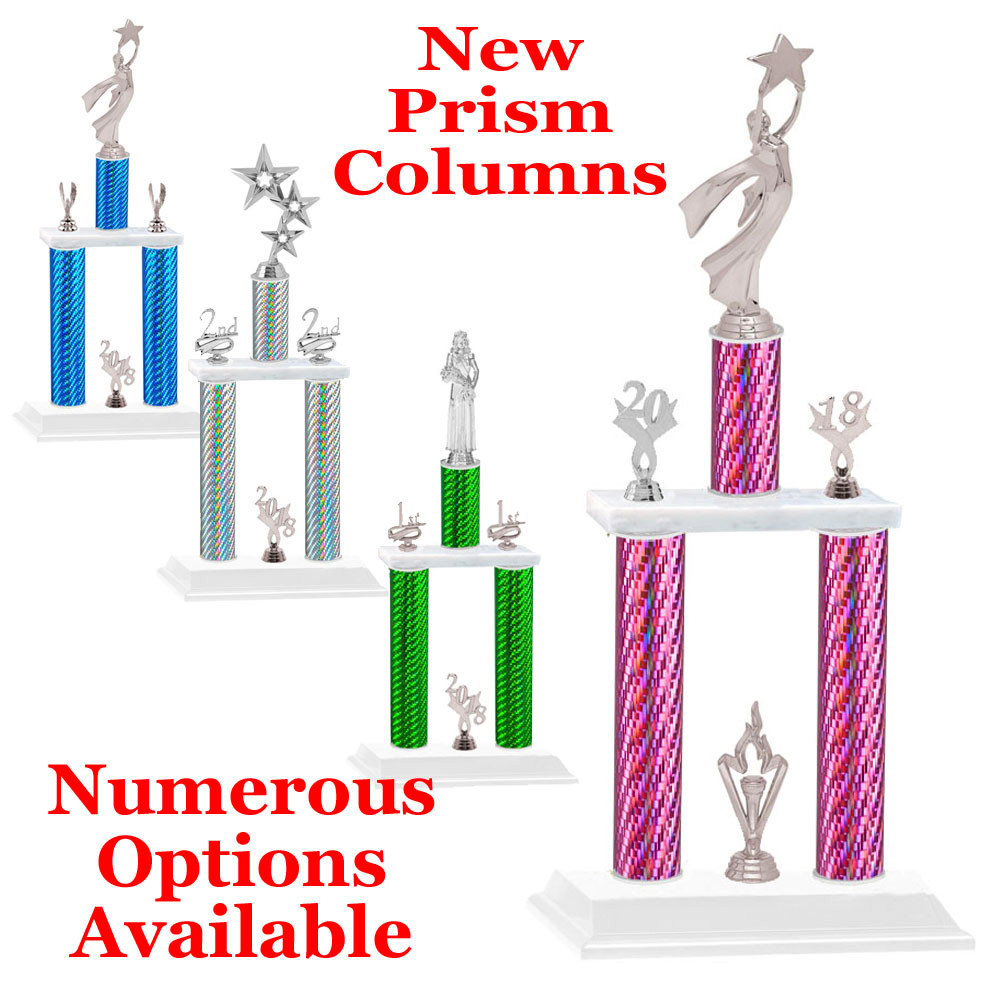 NEW! Prism column trophy  2 columns with silver figures and trim