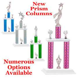 NEW! Prism column trophy.  2 columns with silver figures and trim.
