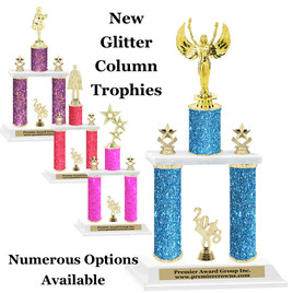 NEW! Glitter column trophy.  2 columns with choice of figure, color and trim