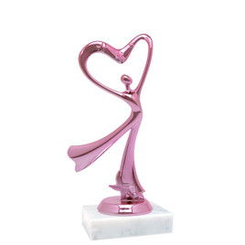"""Pink Flowing Victory figure  trophy with choice of base.  6"""" tall"""