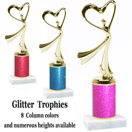 Glitter Column trophy with choice of glitter color, trophy height and base.  Modern  Gold Victory with star