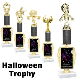 Premier exclusive Halloween trophy.  Glitter Halloween trophy with choice of trophy height, base and figure.  (r450-2