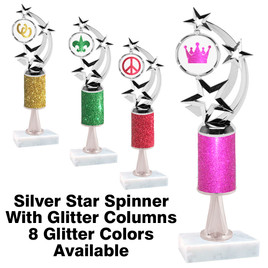 Glitter Column trophy  with pedestal and glitter clip art insert.  Choice of glitter color,  clip art, trophy height and base.  (663s