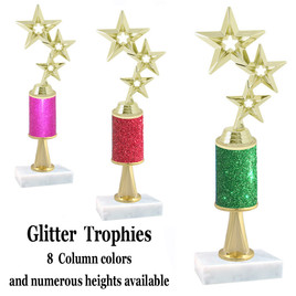 Glitter Column trophy  with pedestal.  Choice of glitter color,  trophy height and base.  Gold 3-Star