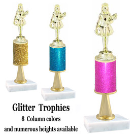 Glitter Column trophy  with pedestal.  Choice of glitter color,  trophy height and base.  Jr. Beauty Queen