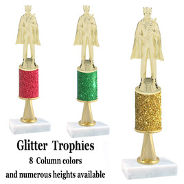 Glitter Column trophy  with pedestal.  Choice of glitter color,  trophy height and base.  King