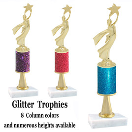 Glitter Column trophy  with pedestal.  Choice of glitter color,  trophy height and base.  Modern Victory