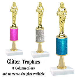 Glitter Column trophy  with pedestal.  Choice of glitter color,  trophy height and base.  Queen