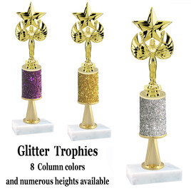 Glitter Column trophy  with pedestal.  Choice of glitter color,  trophy height and base.  Victory with star