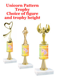 Unicorn  pattern  trophy with choice of trophy height and figure (050stem