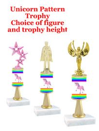 Unicorn  pattern  trophy with choice of trophy height and figure (051stem
