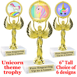"""UNICORN TROPHY WITH 6 DESIGNS AVAILABLE AND CHOICE OF BASE.   7"""" tall  (80087"""