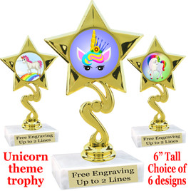 """UNICORN TROPHY WITH 6 DESIGNS AVAILABLE AND CHOICE OF BASE. 6"""" TALL (80106"""