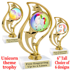 """UNICORN TROPHY WITH 6 DESIGNS AVAILABLE AND CHOICE OF BASE. 6"""" TALL  (90126"""