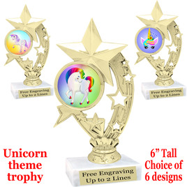 """UNICORN TROPHY WITH 6 DESIGNS AVAILABLE AND CHOICE OF BASE. 6"""" TALL  (h208"""