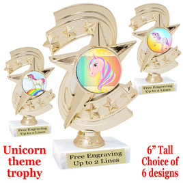 """UNICORN TROPHY WITH 6 DESIGNS AVAILABLE AND CHOICE OF BASE. 6"""" TALL  (h300"""