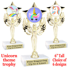 """UNICORN TROPHY WITH 6 DESIGNS AVAILABLE AND CHOICE OF BASE. 6"""" TALL  (7517"""