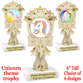 """UNICORN TROPHY WITH 6 DESIGNS AVAILABLE AND CHOICE OF BASE. 6"""" TALL  (mf3260"""