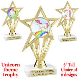 """UNICORN TROPHY WITH 6 DESIGNS AVAILABLE AND CHOICE OF BASE. 6"""" TALL (ph 30"""