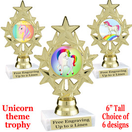 """UNICORN TROPHY WITH 6 DESIGNS AVAILABLE AND CHOICE OF BASE. 6"""" TALL  (ph 75"""