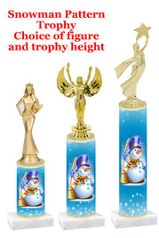 Snowman  trophy with choice of trophy height and figure - winter 001