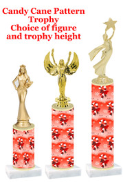 Candy cane  trophy with choice of trophy height and figure - winter 002