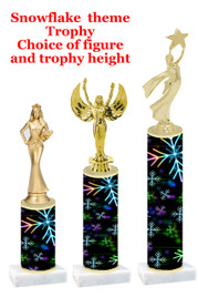 Snowflake  trophy with choice of trophy height and figure - winter 006