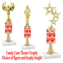 Candy Cane theme  trophy with choice of trophy height and figure - Winter 002