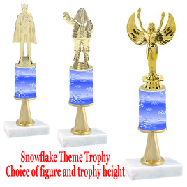 Snowflake  theme  trophy with choice of trophy height and figure - Winter 004