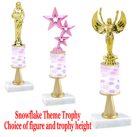 Snowflake  theme  trophy with choice of trophy height and figure - Winter 007