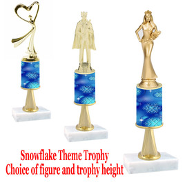Snowflake  theme  trophy with choice of trophy height and figure - Winter 008