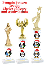 Penguin theme  trophy with choice of trophy height and figure - winter 011