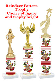 Reindeer theme  trophy with choice of trophy height and figure - winter 012