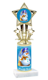 Winter - Christmas theme  trophy with choice of trophy height  with matching insert.  (001