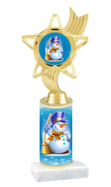 Winter - Christmas theme  trophy with choice of trophy height  with matching insert.  (005