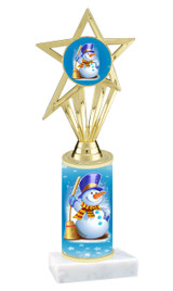 Winter - Christmas theme  trophy with choice of trophy height  with matching insert.  (007