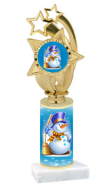 Winter - Christmas theme  trophy with choice of trophy height  with matching insert.  (008