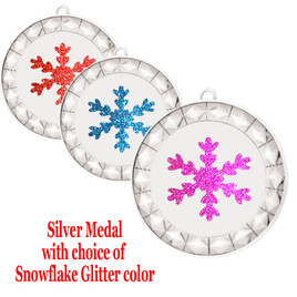 """Snowflake Medal with choice of snowflake glitter color.  2  3/4"""" diameter.  Great award for your winter - Christmas event.  Includes free engraving on back of medal and  neck ribbon.   (935-s"""