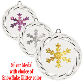 """Snowflake Medal with choice of snowflake glitter color.  2  3/4"""" diameter.  Great award for your winter - Christmas event.  Includes free engraving on back of medal and  neck ribbon.   (938-s"""