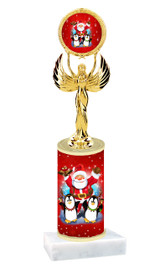 Winter - Christmas theme  trophy with choice of trophy height  with matching insert.  (065