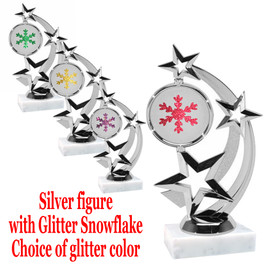 """6 """" tall Silver figure with glitter  snowflake.  Choice of  base and glitter color.  663s"""