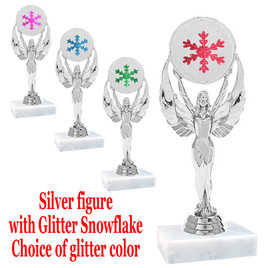 """6 """" tall Silver figure with glitter  snowflake.  Choice of  base and glitter color.  6010s"""