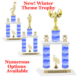 Winter theme  2-Column trophy.  Numerous trophy heights and figures available