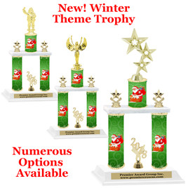 Winter theme  2-Column trophy.  Numerous trophy heights and figures available  (003